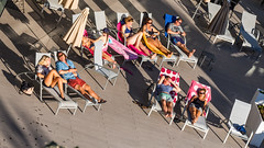 Sunbathers sunbathing. (CWhatPhotos) Tags: people sun cwhatphotos camera photographs photograph pics pictures pic picture image images foto fotos photography artistic that have which contain with olympus four thirds 43 spanish spain mallorca majorca island october 2016 weather alcudia balcony balconyview hotel bathing relax beds sunbeds enjoying men women tan tanning balearic islands mediterranean balearics