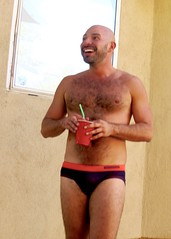 IMG_0213 (danimaniacs) Tags: party shirtless man guy hot sexy hunk mansolo bathingsuit trunks speedo bulge smile beard scruff bald hairy