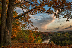 Autumn Sunrise at Homer Watson Park (angie_1964) Tags: sunrise homerwatsonpark lookout fall autumn trees grandriver nikond800e kitchener ontario canada sky clouds water nature landscape explore