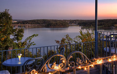 Dining Out (Literally) (SteveFrazierPhotography.com) Tags: theblueheron restaurant dining food lakeoftheozarks water sky nest lakeozark bridge tables chairs sunset evening landscape beautiful camdencounty missouri mo ozarks stevefrazierphotography communitybridge routemm routehh autumn fall october foliage trees colors docks reflections deck hdr photomatix