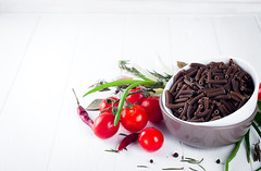 Italian food background with pene, vine tomatoes, spaghetti, garlic (lyule4ik) Tags: food pasta cooking dinner healthy cuisine background heart love vintage leaf kitchen italian green brown traditional meal table vegetable spaghetti mediterranean raw vegetarian copy diet life garlic fresh space health sauce tomato wood herb clean vegan spice concept restaurant helthy card slate room lunch grocery tomatoe
