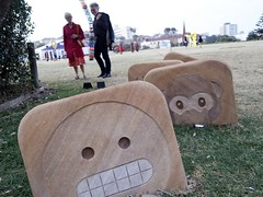Sculptures by the Sea 2016 (gigchick) Tags: threewisemonkeys speaknoevil monkey emoticons emoticon emoji people faces face sculpture sculptures sculpturesbythesea