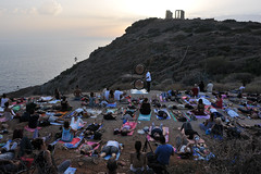 , . Fans of yoga overlooking the Temple of Poseidon, Sounion. (st.delis) Tags:     yoga gong sounion attica hellas outdoor