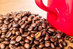 Coffee roasted beans with red cup (mikhafff1984) Tags: bean black background closeup roast mocha natural pot coffee brown drink break arabica roasted brew abstract dark espresso texture color pattern food freshness