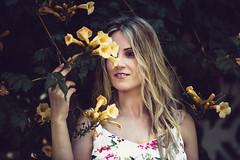 last summer feelings (elisenda soler) Tags: portrait beauty hands eyes woman smiling smile hair look blonde remember yellowflowers lastsummer yellow flowers