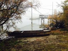 iph502 (gzammarchi) Tags: italia paesaggio natura ravenna marinaromea piallassabaiona piallassa nebbia capanno palo rete lago barca riflesso pontile