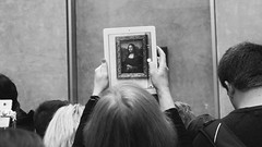 (not) so close (kadircelep) Tags: paris people human exhibition museum ipad mobilephotography monochrome blackandwhite louvre monalisa davinci travel