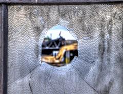Focus (willkommen) Tags: fotomatix window factory abandoned decrepit defunct glass broken vandalism urbanblight decay shards