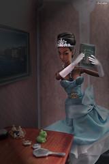 Poppy Parker Irresistible in India as Tiana (ArLekin26113) Tags: poppyparker fashionroyalty integrity doll fashiondoll disney cartoon fairytale princess irresistibleinindia tiana frog princessandthefrog crown bluedress book gloves