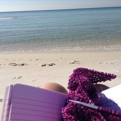 Working on relaxing! #beachknitting (knittingdragonflies) Tags: asymmetrical shawl pattern free