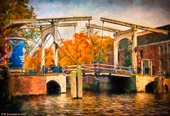 Painting of a traditional Amsterdam lifting bridge (PhotosToArtByMike) Tags: bridge amsterdam netherlands nieuweherengracht amstelriver cantileverbridge dutch liftingbridge holland