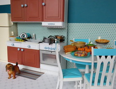 9. Toni's Kitchen (Foxy Belle) Tags: kitchen doll dollhouse miniature thanksgiving retro vintage tile blue aqua turquoise barbie playscale 16 rement food squash pumpkin