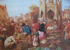 Malmesbury Market (pefkosmad) Tags: jigsaw puzzle leisure pastime hobby 1000pieces ravensburger complete malmesburymarket henrycharlesbryant painting art victorian marketscene