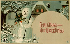 Snowman Christmas Greetings (Alan Mays) Tags: ephemera postcards greetingcards greetings cards christmascards paper printed christmas xmas december25 holidays snowmen snowman snowpeople snow christmastrees trees night nighttime darkness borders illustrations circles blue white red antique old vintage typefaces type typography fonts raphaeltucksons raphaeltuck tuck postcardpublishers
