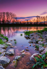 Pond in Sunset colors (Chri Stall Klar) Tags: sky landscape lake winter water clouds rocks colors canon pond purple germany sundown sigma wide angle heilbronn upright polarizer sunset