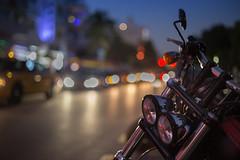 Blue hour in the city (Nathalie Le Bris) Tags: city bluehour miami moto bokeh