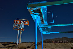 no-gas. mojave desert, ca. 2016. (eyetwist) Tags: eyetwistkevinballuff eyetwist sign logas eat roadsideamerica halloransprings abandoned gasstation mojavedesert dark night longexposure fullmoon moonlight mojave desert nikon d7000 nikkor capturenx2 1024mmf3545g npy nocturne highdesert america americana americantypology landscape startrails star trails type typography typographic signgeeks arrow vintage american west roadtrip california lightpainting peeling weathered worn neon i15 interstate gasoline servicestation closed decay lasvegas derelict ruin roadside exit diner gas station 1024mm canopy roof hole