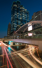 Bangkok's junction (HitmyFeel) Tags: road street light twilight longexposure building city architecture cityscape car modern luxury