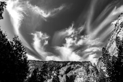 Wispy cirrus clouds over Yosemite's Mist Trail (dr_stan3) Tags: yosemite national park mist trail cirrus clouds sky travel california canon 6d ef2470mmf28liiusm monochrome
