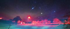 Nebula (Lux Obscura) Tags: stars doubleexposure colorimetry iridiumflare planet redgiant gas dust dream cinemascope night nature tree