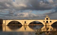 Sous le pont d'Avignon... (chriskatsie) Tags: pont bridge danse river riviere 84000 avignon lumiere light rhone sunset