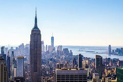 Empire view. (simonmanning11) Tags: fuji18135mm fujixt2 haze statueofliberty worldtradecenter topoftherock midtown southside nyc newyork empirestatebuilding