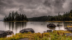 Raindrops keep falling on my head. (Brendinni) Tags: trees lake water clouds reflections washington rocks moody fallcolors stormy evergreens hdr lakewenatchee tonemapped tonemapping fall2014