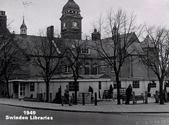 1949: Central Library at Regent Circus, Swindon (Local Studies, Swindon Central Library) Tags: trees bw tower clock bench library libraries swindon 1940s townhall wiltshire demolished 1949 centrallibrary cen adver regentcircus swindonpressltd swindonlibraries