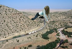 largest model railroad (Museman2012) Tags: railroad girl train model desert teen giantess