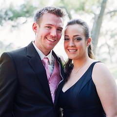 (deanmackayphoto) Tags: pink wedding portrait brown film smile 35mm nicole couple dress brother suit erik groomsmen