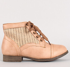 "sweater panel lace up ankle bootie camel • <a style=""font-size:0.8em;"" href=""http://www.flickr.com/photos/64360322@N06/15323444817/"" target=""_blank"">View on Flickr</a>"