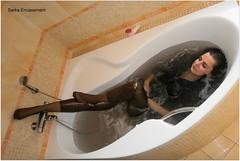 PA170737f (Sarka Encasement) Tags: black wet bath nylon leggings wetlook