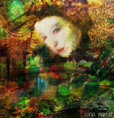 Japanese beauty (Sonja Parfitt) Tags: bridge trees color face japanesegarden photomanipulated layered