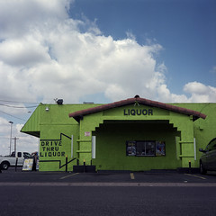 Box Man (T-Terror) Tags: color building green 6x6 clouds mediumformat square squareformat liquorstore 220 expiredfilm mamiyac330 80mm phoenixaz fujinpc160 32ndstreet drivethroughliquor epsonv500
