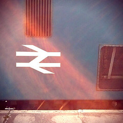 127/365 - Freight train (Spannarama) Tags: uk sunlight london sunshine station train square logo symbol platform may lewisham flare 365 freighttrain 2014 nationalrail