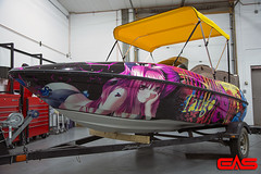 Printed vinyl can withstand harsh environments, making even boat hull wraps possible.