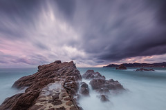 Quiet storm (jeanjoaquim) Tags: sunset seascape rock french long exposure riviera waves cloudy cannes dam nd filters nisi fstopper