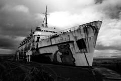 Mostyn Shipwreck (Rich900) Tags: blackandwhite abandoned wales nikon shipwreck greyscale mostyn d40