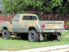 Army Dodge 4X4 (Eyellgeteven) Tags: old green classic truck vintage army rust 4x4 military rusty pickup pickuptruck dent camo faded camouflage rusted oxidation vehicle dodge chrysler mopar 1970s dents jalopy beatup junker usarmy beater madeinusa americanmade fourwheeldrive dented oxidized heavyduty m800 worktruck powerwagon farmtruck olivedrab militarytruck 34ton eyellgeteven 114ton