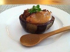Baked eggplant topped w red & white miso sauce. (Mimi Neko) Tags: food miso yum eggplant delicious appetizer delish
