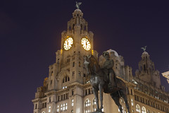 Liverpool Waterfront (Andy McLannahan) Tags: city sky clock water night liverpool dark lights timelapse waterfront liver mersey liverbirds merseyside liverbuilding rivermersey museumofliverpool