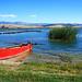 Macedonia/ lake Vegoritida, red boat, Greece #Μacedonia