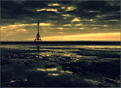 Crosby (david.hayes77) Tags: sunset sea beach silhouette reflections contrejour windfarm gormley 2012 crosby merseyside anotherplace blundellsands