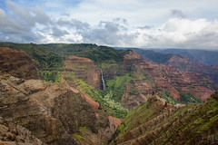 Waimea Canyon Waterfall (Adam Isaac Photography) Tags: beautiful beauty canon island hawaii waterfall colorful canyon kauai volcanic epic waimeacanyon pacificisland aih 2014 canon60d aihphotography
