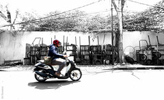 LB1A2116 (fishandchinkers) Tags: road street people blackandwhite abstract man hot male men weather bike trash writing outside graffiti garbage community southeastasia locals village state time recycled traditional wheels transport objects sunny scooter location dirty motorbike messy rubbish cart refuse kampung setting kampong technique indonesian gender decayed slum dilapidated malay rubble scruffy landfill oldfashioned rundown fallingdown binman occupation condition indonesians pondokindah placenames rubbishdump sampah radiodalam nationalityrace