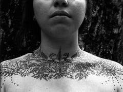 Monstrifr (Mnstrifer) Tags: portrait blackandwhite white black neck skin drawing chest noface bodyart filmphotography femalebody clavicles