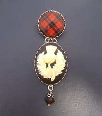 Ancient Romance Series - Scottish Tartans Collection - Wallace Clan Tartan Thistle Cameo Brooch with Onyx Black Czech Glass Bell Charm - Antique Silver Finish
