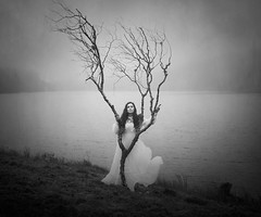 The Silence Of Silence (Maren Klemp) Tags: fineartphotography fineartphotographer blackandwhite monochrome selfportrait portrait tree fog mist nature ocean water outdoors naturallight evocative ethereal expressive grass branches vintage melancholy woman whitedress conceptual