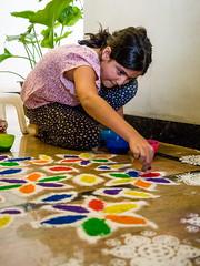 Diwali Rangoli (Mike Prince) Tags: artandarchitecture bangalore bengaluru diwali family frazertown holidaysandcelebrations india karnataka paintings prince rangoli tiyaprince