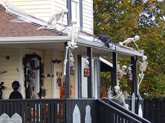 Getting Creepier (Morganthorn) Tags: halloween haunted house spooky creepy skeleton spider ghost ghoul zombie horror